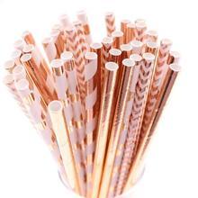 25/50pcs Aluminum rose gold foil paper straws stripe Dot mixed birthday party decoration adult wedding invitations favors