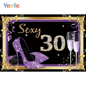 High Heeled Shoes Wineglass 30 40 60 70 80th Birthday Party Backdrop Vinyl Photography Backdrops Photographic Background Props