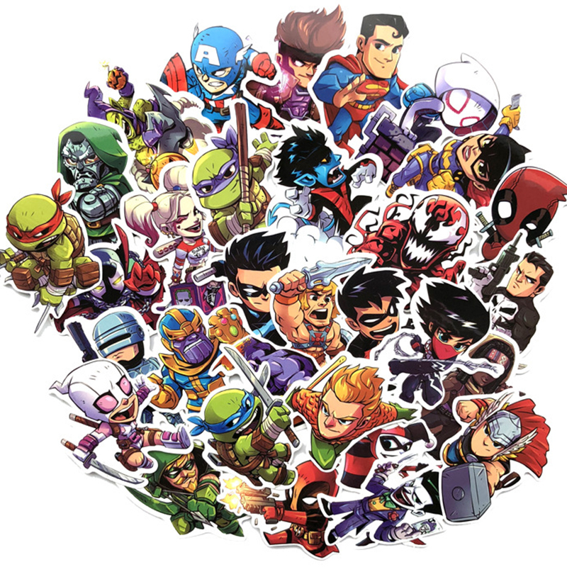 50 Pcs Avengers Superman Heroes Anime Cartoon Sticker Luggage Trolley Case Laptop Stationery Furniture Waterproof Stickers