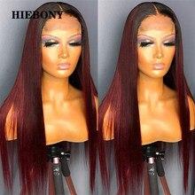 Perucas retas do cabelo humano da parte dianteira do laço 1b99j com cabelo do bebê ombre 99j 13x6 do laço