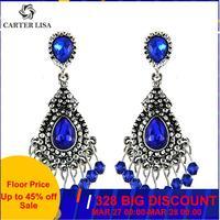CARTER LISA bleu/argent couleur lustre cristal longues boucles d'oreilles pour femmes strass boucles d'oreilles suspendues bijoux de mariage de mariée