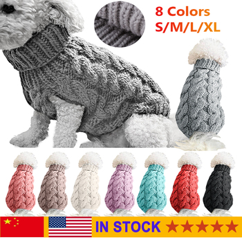 Dog Clothes Winter Dog Sweater Warm Clothes For Small Large Cat Pet Turtleneck Jumper Clothing Coat Knitting Crochet Outfit Vest image