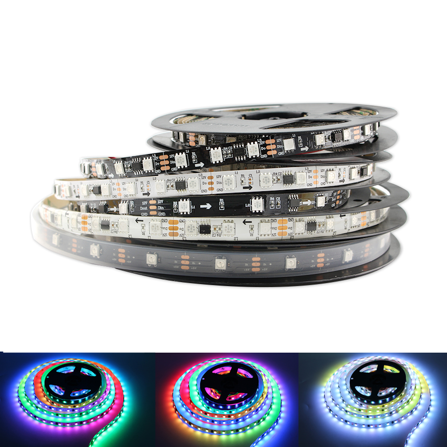 Zuczug WS2811 WS2812B RGB LED Strip Light 5M <font><b>5</b></font> <font><b>12</b></font> Volt Waterproof 5050 30/60/144 led/m WS2812 WS2812B DC 5V 12V led Stripe Tape image
