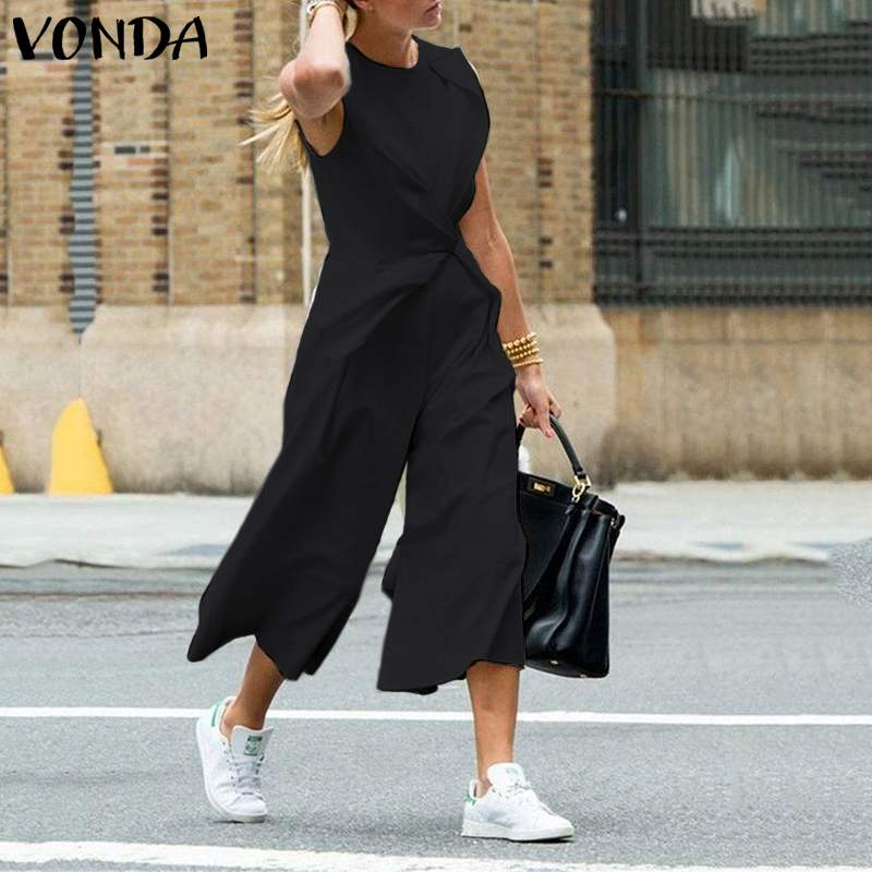 VONDA 2019 Summer Sexy Sleeveless Rompers Women Jumpsuits Casual Loose Solid Color Playsuits Bohemain Overalls Loose Pants S-5XL