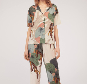 Image 2 - Pajamas Womens Short sleeved Cropped Trousers Pajamas Set with Leaves Printing Lapel Casual Large Size Loose Style Home Clothes