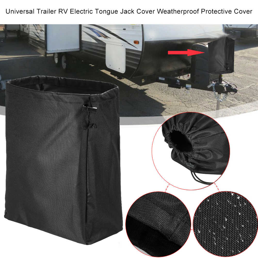 Mr.You Electric Tongue Jack Cover W14.5H17.5in Universal Fit for Most Trailer RV Electric Tongue Jack,with Thicker Cashmere Fabric Heavy Duty Waterproof No Tear No Fading