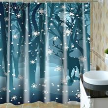 Cartoon Landscape Big Shower Curtain Leaves Printing Curtains For Bathroom Products Waterproof