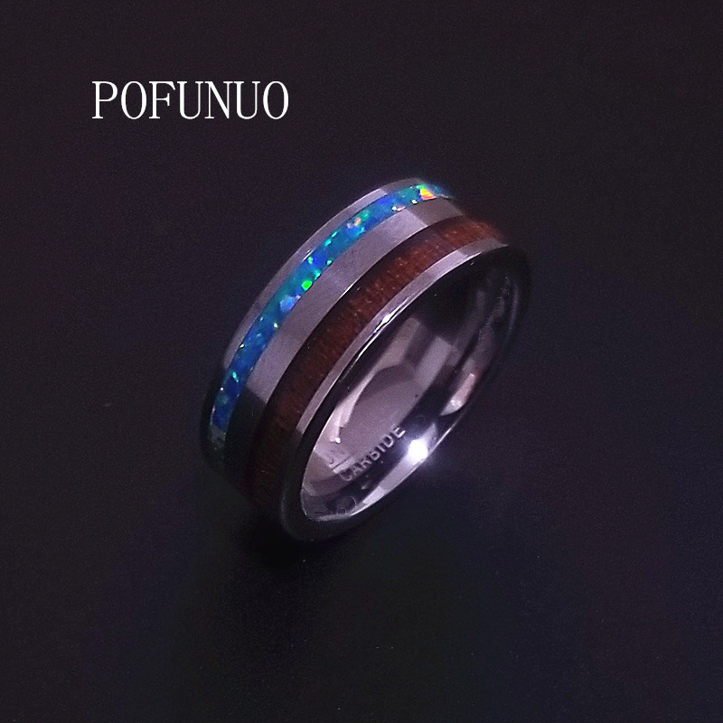 POFUNUO Classic Groove Titanium Ring For Men women Engagement Rings Wedding Band Fashion Mens Jewelry Bague Homme free shipping