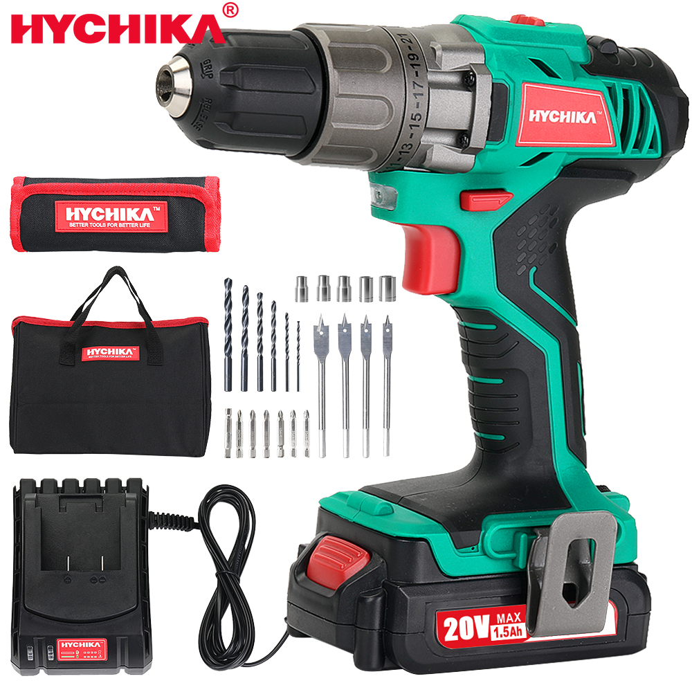 HYCHIKA 18V Cordless Drill Electric Screwdriver Mini Wireless Power Driver DC Lithium-Ion Battery hand driver Wrench Power tools