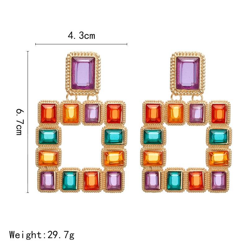 Bohème grand carré Vintage boucles d'oreilles goutte pour les femmes mode déclaration boucles d'oreilles Bijoux cadeau accessoires Bijoux en gros 3