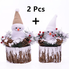 MYBLUE 2Pcs/Set Christmas Styrofoam Ornaments Santa Claus Snowman Doll Figurine  Garden Nordic Home Room Decoration Accessories smkj e1hq christmas colored hair ball decorative snowman ornaments 10 pcs