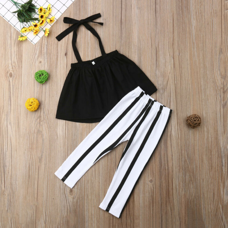 US 2Pcs Toddler Kid Baby Girl Clothes Sling Tops+Stripe Long Pants Summer Outfit