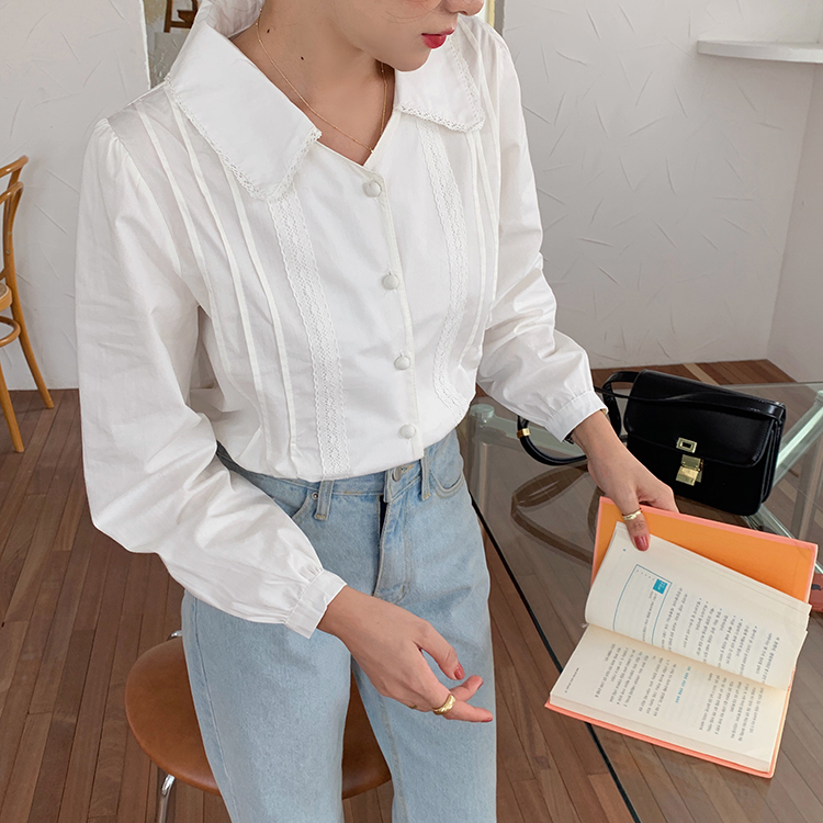 Hb7e779104d09402bb6035d8079a96d9bT - Spring / Autumn Korean Turn-Down Collar Long Sleeves Buttons Lace Blouse