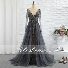 Элегантный темно серое вечернее платье с кристаллами бисером