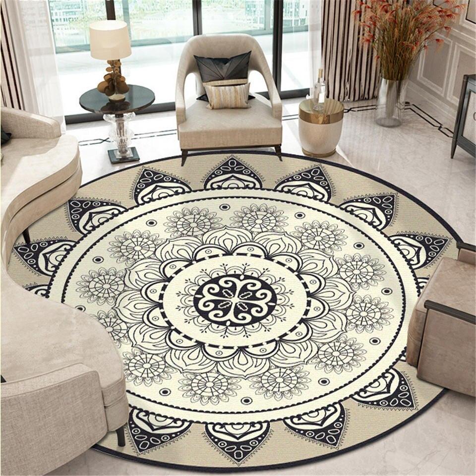 בוהמיה אתני המנדלה עגול רצפת שטיח רך קלאסי גיאומטרי פרח ספת אירופה רטרו גדול אזור שטיח לסלון