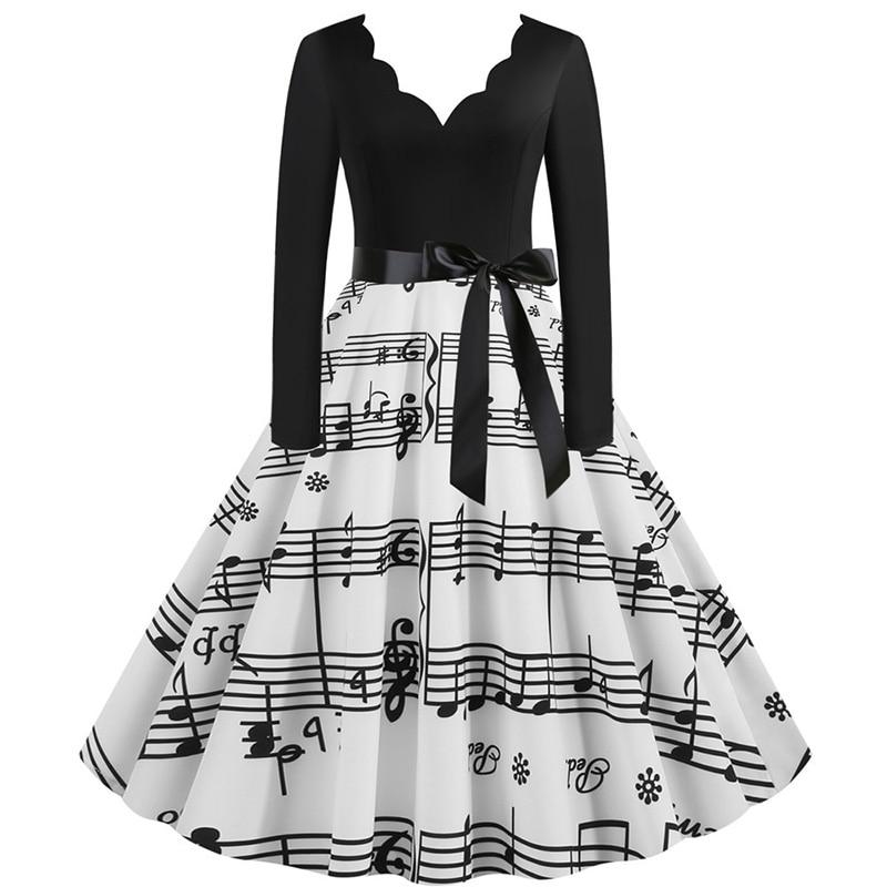 Women Long Sleeve Winter Vintage Dresses Sexy Black Music Note Print V-neck Rockabilly Pin up Party Dress Vestidos Plus size 509