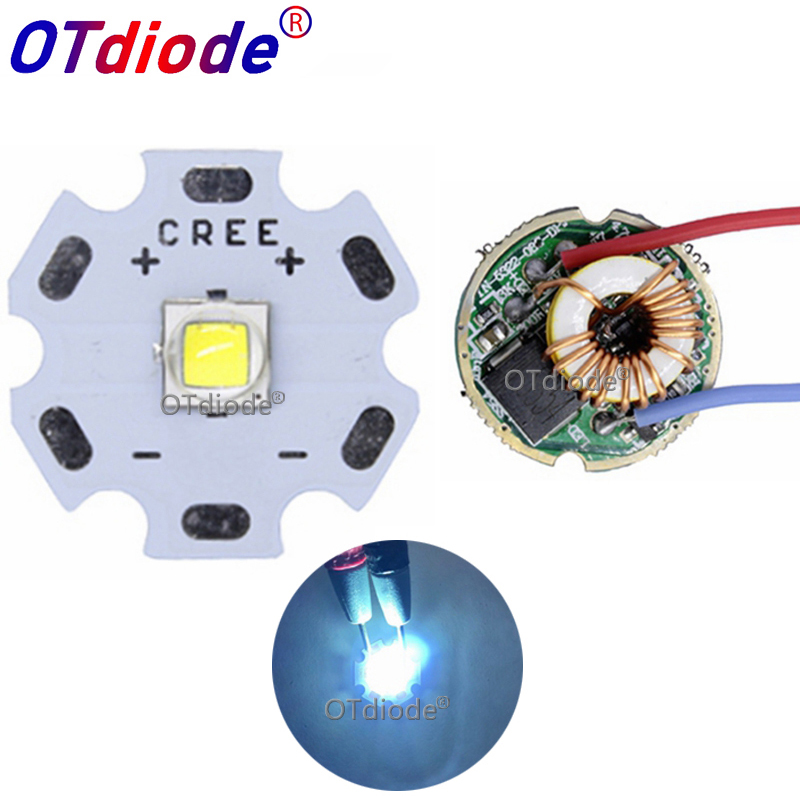 <font><b>10W</b></font> Cree XM-L2 T6 XML2 T6 <font><b>LED</b></font> Light <font><b>20mm</b></font> PCB White Warm White Neutral White + 22mm 5 Modes 3-12V <font><b>Driver</b></font> For DIY Torch Flashlight image