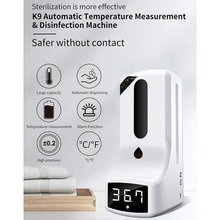 Wall-Mounted Thermometer with Hand Dispenser, K9 Automatic Temperature Measurement, with Alarm, for in Offices Schools