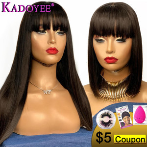 """KADOYEE Lace Front Human Hair Wigs Brazilian Remy Hair 13x4"""" Parting Straight Wig with Bangs 8""""-26"""" PrePlucked 130% 150% Density(China)"""