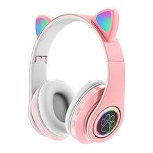 B39 New lovely wireless cat ear 5.0 bluetooth headset, head-mounted luminous volume control folding card, game sports music