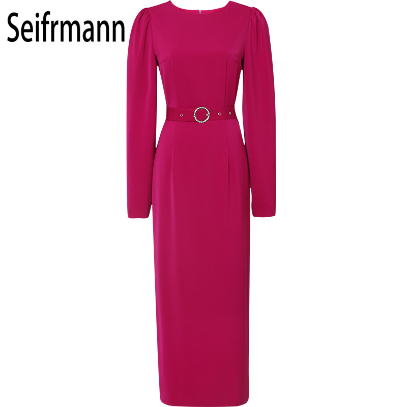 Seifrm 2019 Autumn New Soft Pink sexy dress Fashion Sashes Elegant Party dress Office Slim fit Knee Length dress Streetwear - 4
