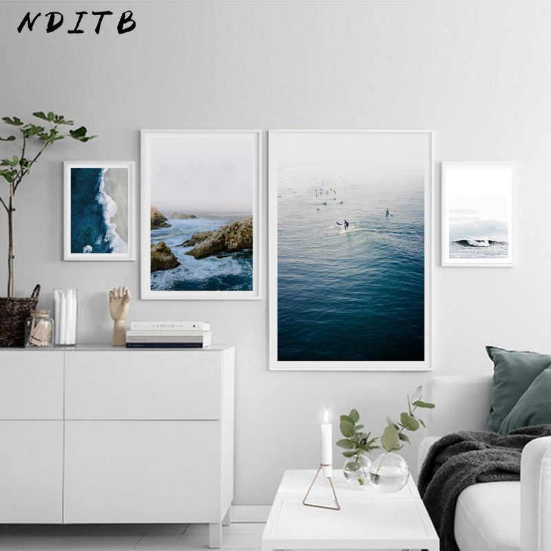 Biru Laut Dinding Poser-Pose Tool For Artists Nordic Kanvas Seni Seascape Cetak Skandinavia Lukisan Lanskap Alam Dekoratif Gambar Dekorasi Kamar