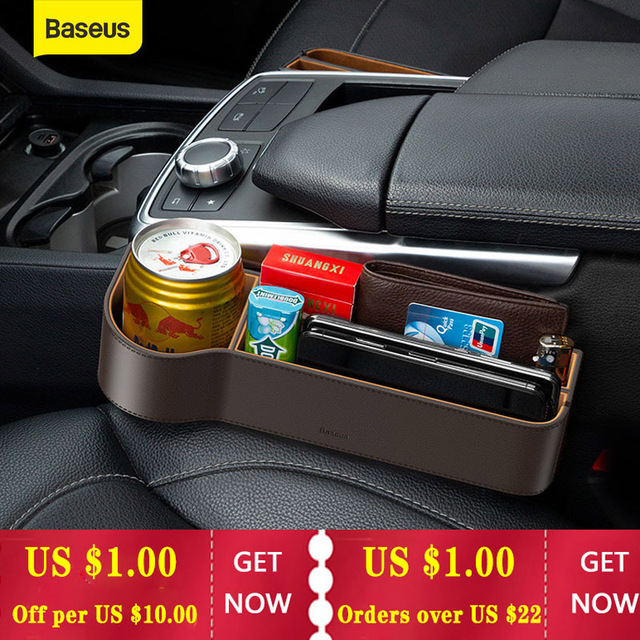 Baseus Car Storage Baskets Box Organizer Seat Gap PU Case Pocket Car Seat Side Slit For Organizer Wallet Keys Phone Holders