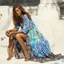 купить Long Chiffon Dress Women Print V-Neck Half Sleeve Maxi Autumn Dress Fashion High Waist Plus Size Casual Bohemia Beach Vestidos онлайн