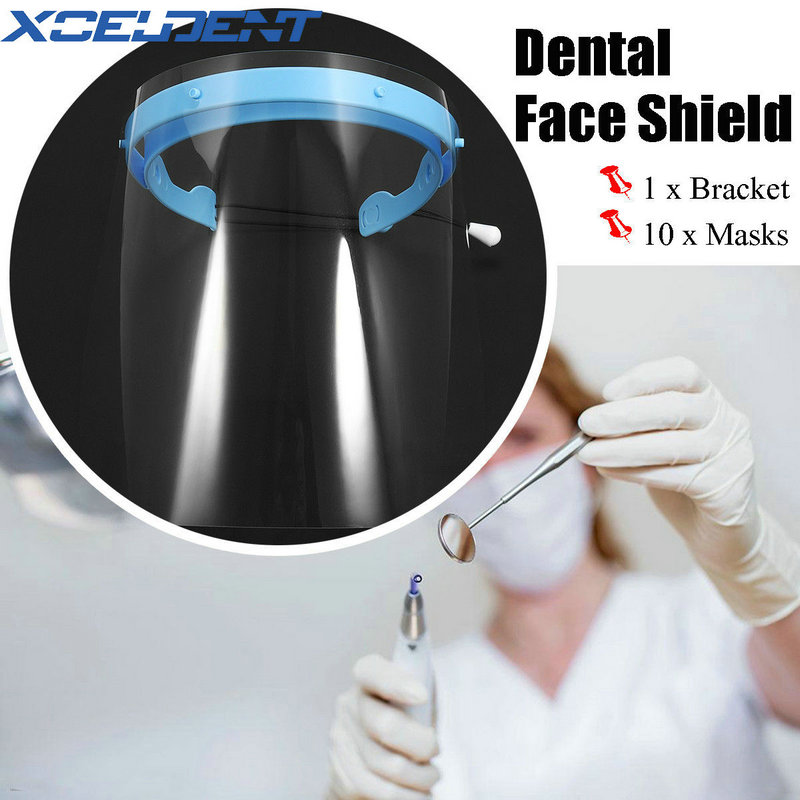 Dental Mask Protective Plastic Films Masks Face Shield With 10 Pcs Detachable Visors Mask High Quality