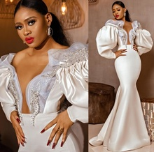 Retro Victoria Style Poet Long Sleeves Wedding Dress 2021 Sexy Off Shoulder V Neck Ruched Satin Mermaid Bridal Gowns Crystals