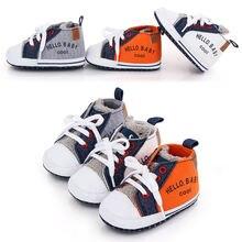 Для новорожденных модные милые парусиновые туфли на мягкой подошве;