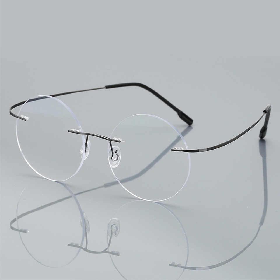 مكافحة الأزرق بدون إطار نظارات للقراءة الرجال النساء الجولة بدون إطار مكبرة النظارات وصفة طبية قصر النظر الشيخوخي الزجاج + 1.50 + 2.00