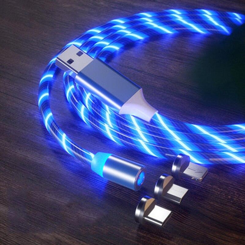 Струящийся свет зарядный Магнитный кабель с разъемом USB Type-C Магнитный кабель Micro USB зарядного устройства в оплетке для iPhone Huawei