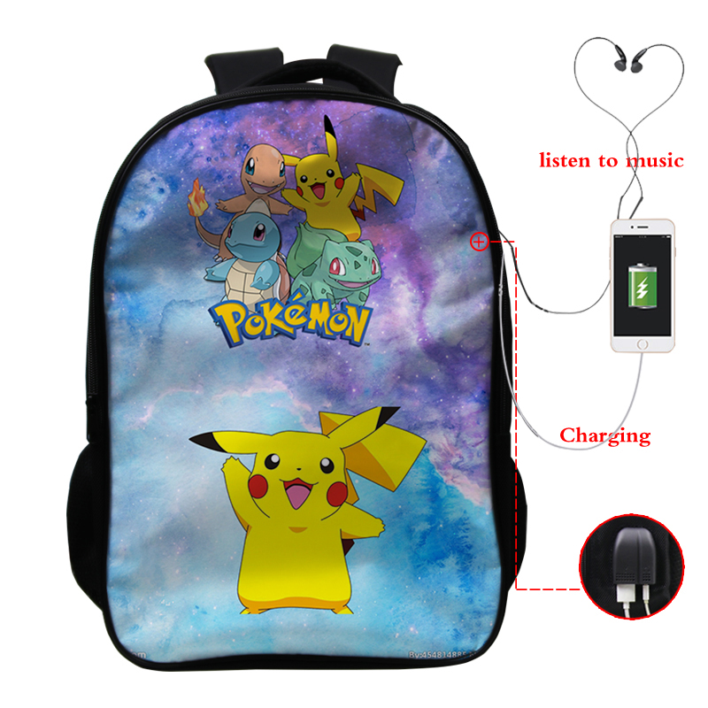 Pokemon Backpack 16 Inches Pikachu Casual Fashion School Bag