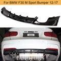 Задний бампер F30 из углеродного волокна  диффузор для BMW F30 M  спортивный бампер 2012-2017  задний диффузор  спойлер для губ ABS  черный