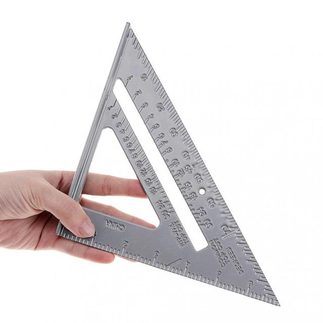 7 Inch Aluminium Alloy Metal Right Angle Triangle Ruler with 0.1 Accuracy and 1 Scale Value for Industrial Measuring Tool