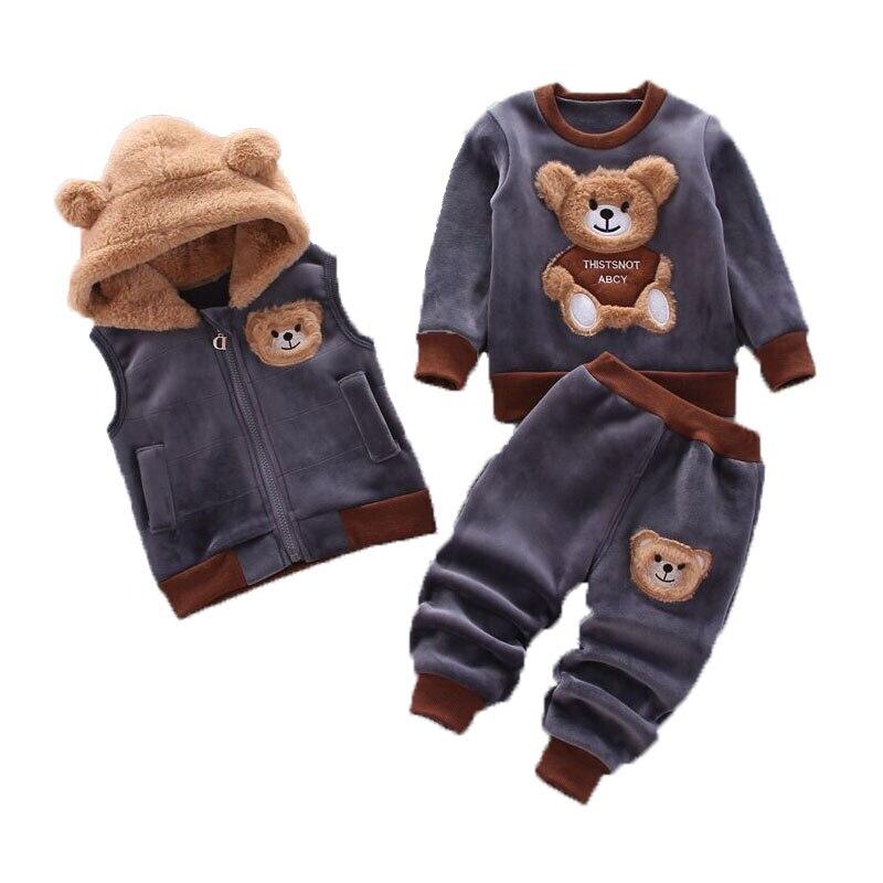Autumn Winter Girl Fashion Cartoons Bear Hooded Warm Plus velvet Vest+Trousers 3Pcs Baby Girls Set Casual Baby Boys Tracksuit