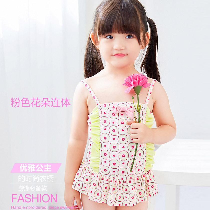 Summer Hot Sales KID'S Swimwear Small Children Baby GIRL'S Students Printed Skirt Flower Skirt-Sweet Hot Springs One-piece Swimw
