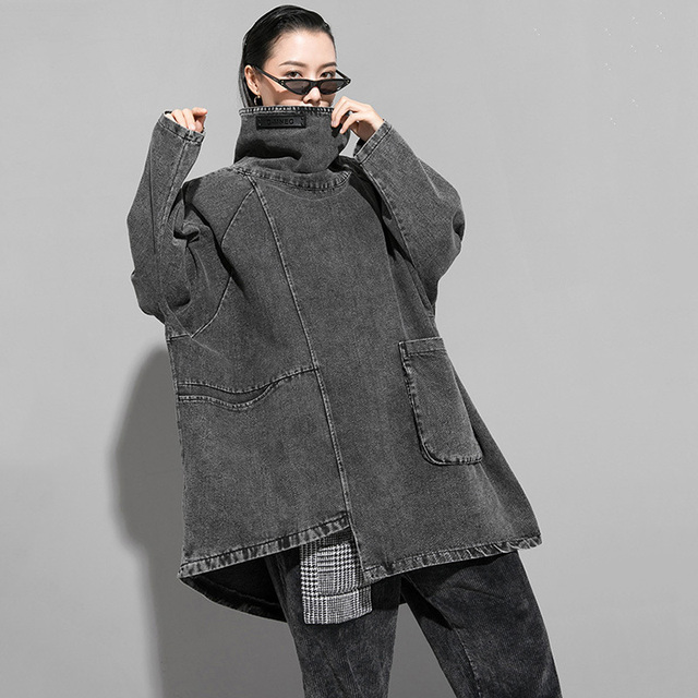 [EAM] Loose Fit Black Denim Oversized Sweatshirt New High Collar Long Sleeve Women Big Size Fashion Spring Autumn 2021 1K166 6