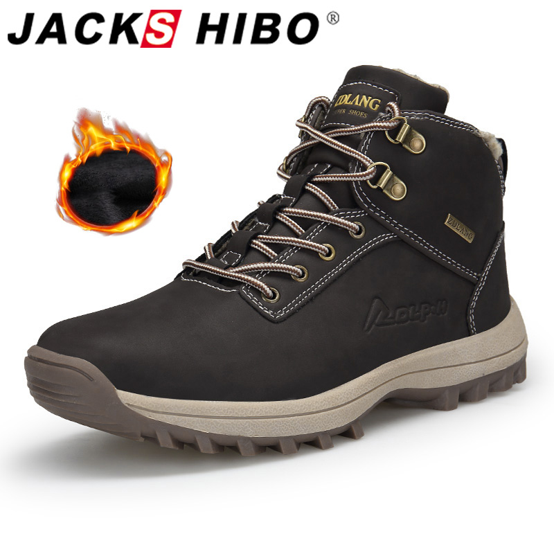 Jackshibo Men Ankle Snow Boots Shoes Outdoor Waterproof Casual Shoes For Men Women Winter Warm Fur Lining Snow Boots Pluse Size