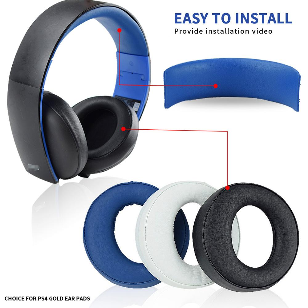 Replacement Ear Pads Cushion Headband For SONY PS3 PS4 Gold Wireless Stereo Headset CECHYA-0083(L+R)- Jet Black [Old Model]