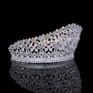 Image 2 - Роскошная свадебная тиара с большим кристаллом циркония, Королевская корона, свадебные аксессуары, диадема, повязка на голову, конкурс, украшения для волос для невесты, вечеринки