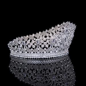 Image 2 - Luxe Bridal Tiara Grote Kristallen Zirkoon Koningin Crown Bruiloft Accessoires Diadeem hoofdband Pageant Haar Sieraden Voor Bruiden Party
