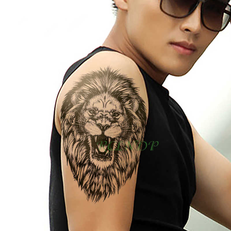Waterproof Temporary Tattoo Sticker Lion King Open Mouth Animal Tatto Flash Tatoo Fake Tattoos Hand Leg Arm For Kids Men Women Temporary Tattoos Aliexpress