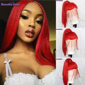 Hair Wigs Heat-Resistant Beautiful Straight Long Synthetic Full-Lace Guleless Red