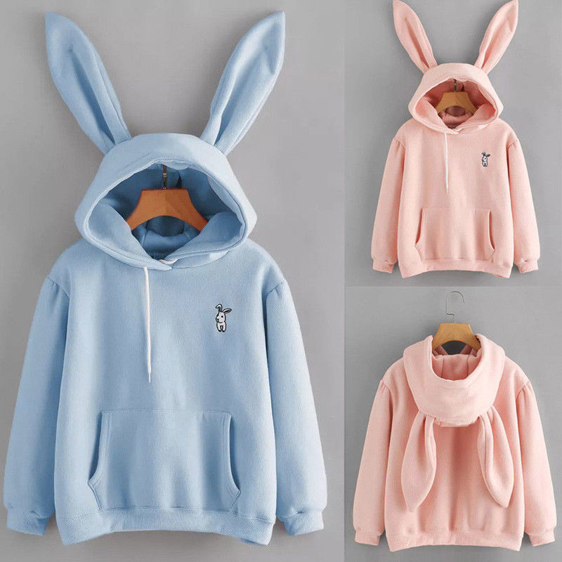 Autumn Winter Cartoon Rabbit Ear Long Sleeve Hoodies Women Girls Hooded Sweatshirts Pullover Coat Female Lovely Bunny Hoodies