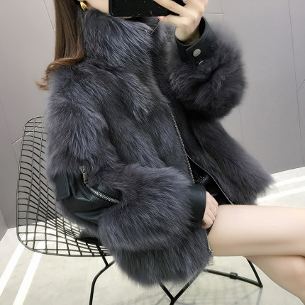 2020 autumn and winter new coat female fox fur fur coat coat leather Korean collar is thin Zipper  Regular  Turn-down Collar