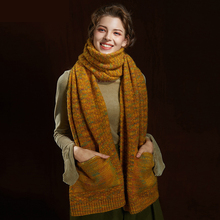2019 New Autumn and Winter Fashion Mixed Color Women Adult Mohair Scarf Joker Creative Pockets Thickened Warm