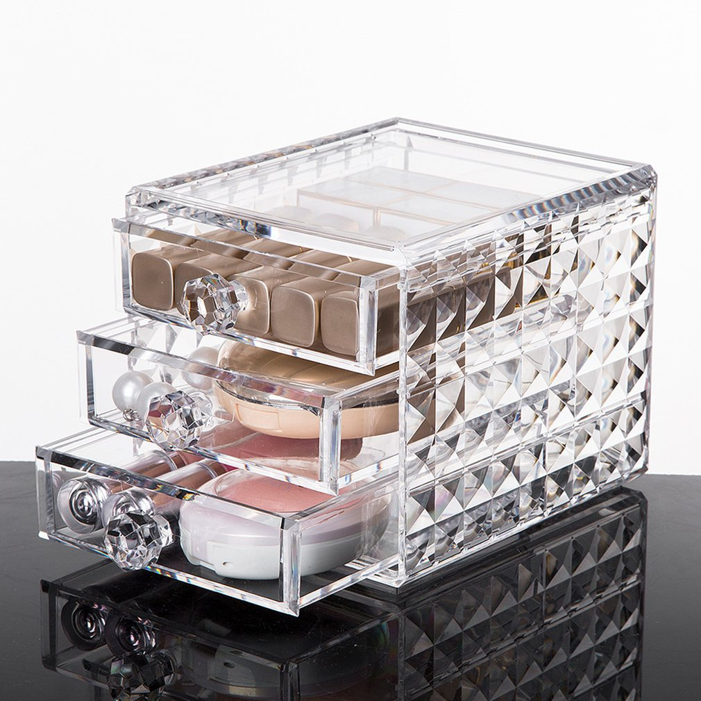 Swab Holder Cotton Box Sets Acrylic Fits Creams Lipsticks Transparent Cosmetic Storage Display Case
