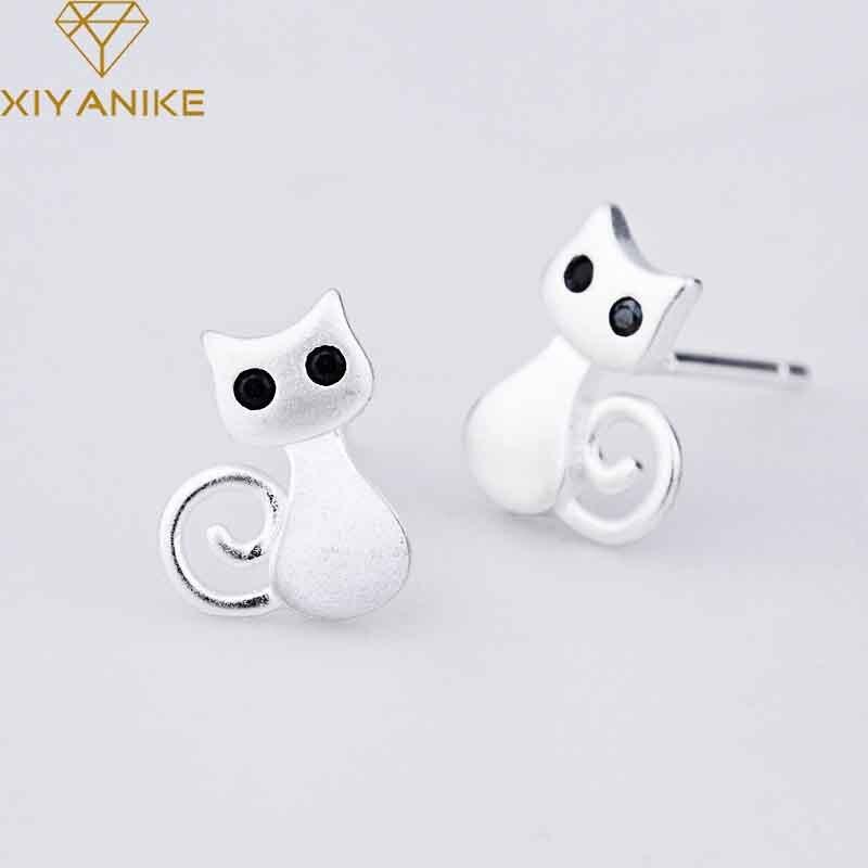 XIYANIKE 925 Sterling Silver Hot Sale Korean Style Animal Stud Earrings Trendy Small Simple Ear Hoops Cute Cat Jewelry For Women